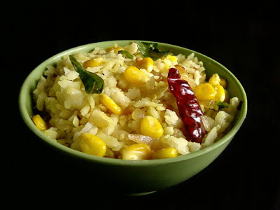 Corn Poha ~ Beaten Rice with Corn