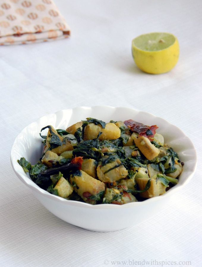 Aratikaya Palakura Koora ~ Plantain Spinach Curry with Lemon