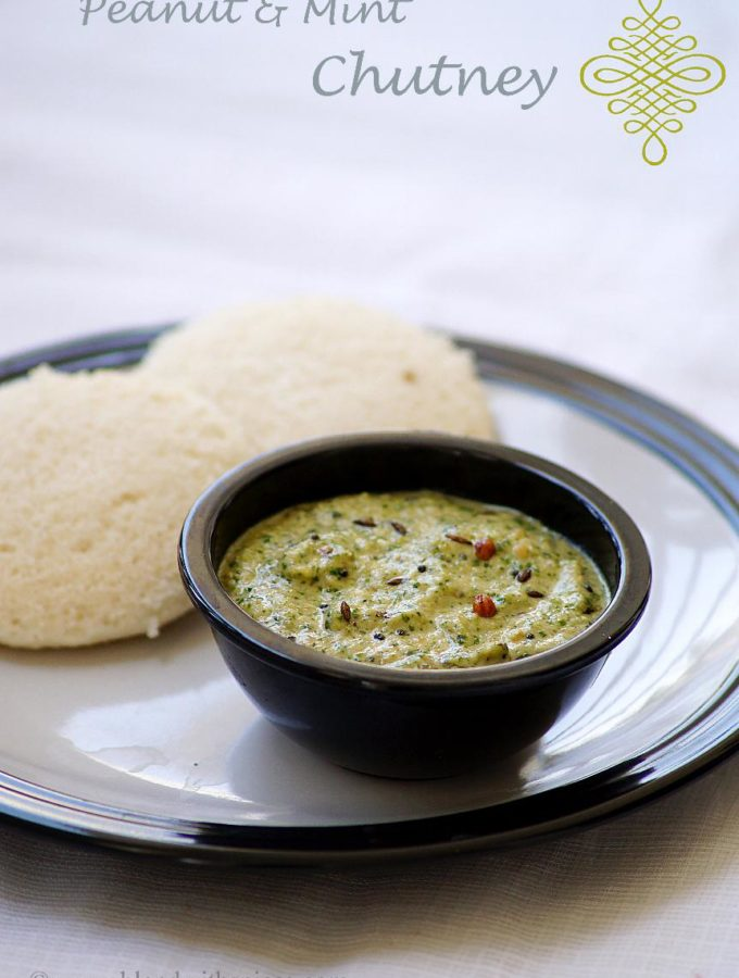 Peanut Mint Chutney Recipe for Idli / Dosa