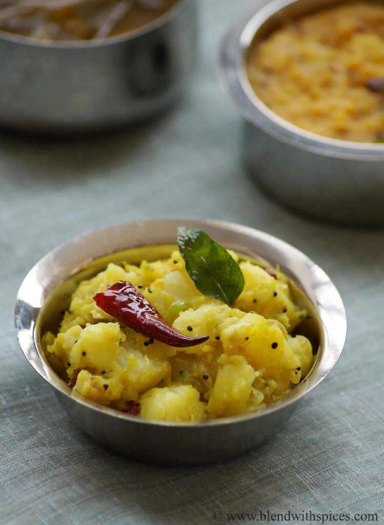 how to make potato ginger curry, aloo ginger chilli curry, andhra potato curry recipe