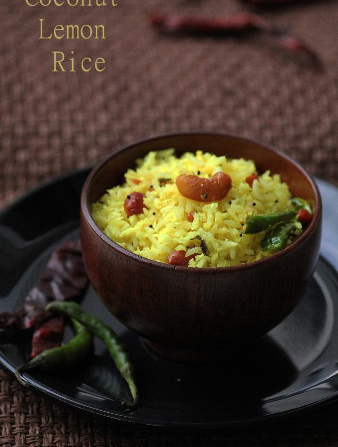 Nimmakaya Kobbari Pulihora Recipe – Coconut Lemon Rice Recipe – Step by Step Recipe – Easy Rice Recipes