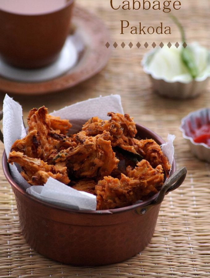 Cabbage Pakoda Recipe – How to make South Indian Cabbage Pakora – Cabbage Fritters Recipe