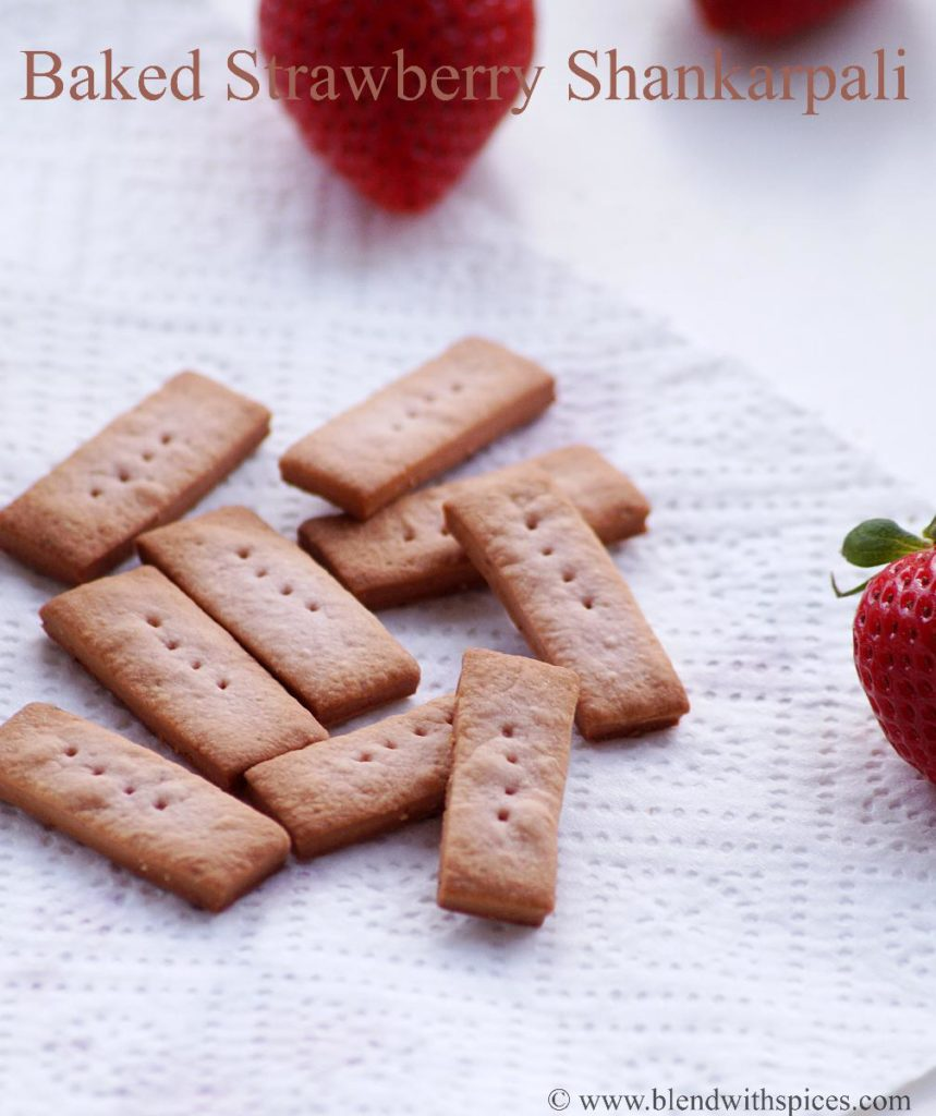 Baked Shankarpali Recipe, how to make shakarpara with strawberry | blendwithspices.com