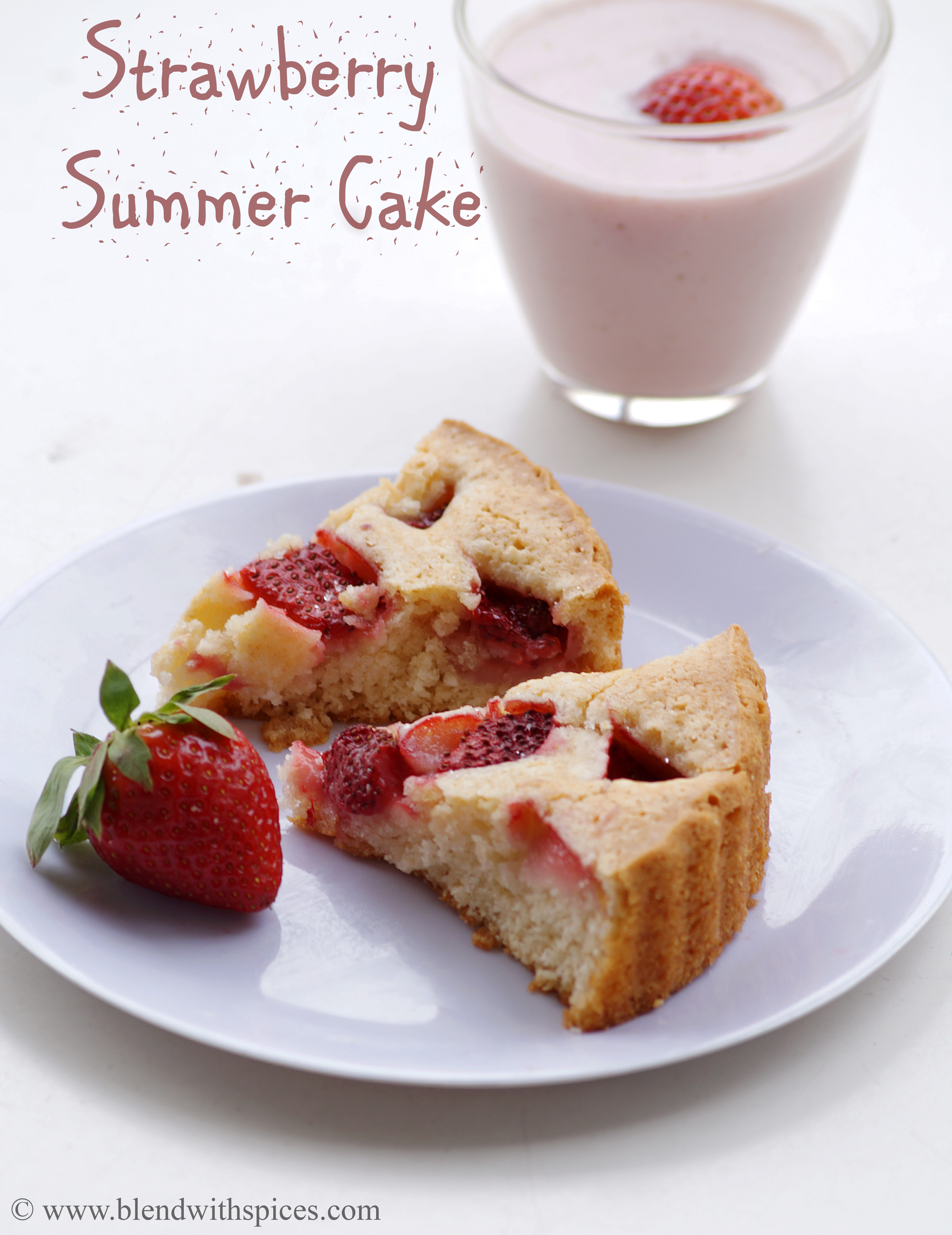 recipe for strawberry summer cake, eggless strawberry baking recipes