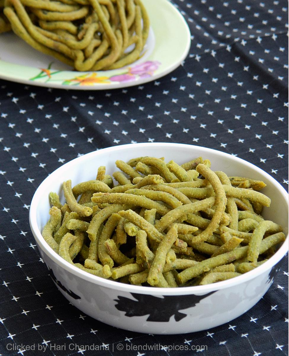 palak sev recipe, how to make spinach sev, diwali snack recipes,